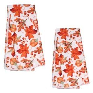 Set Of 2 Orange Fall Leaves Kitchen Towels NWT